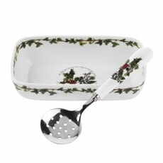 Portmeirion Holly and Ivy - Cranberry Dish With Slotted Spoon