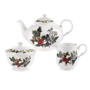 Portmeirion Holly and Ivy - 3 Piece Tea Set