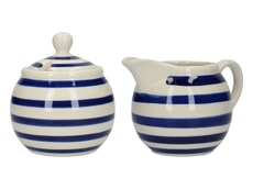 London Pottery Sugar and Creamer Set Blue Bands