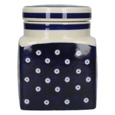 London Pottery Ceramic Canister Blue and White Circle