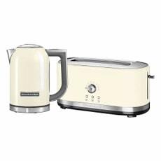 KitchenAid 1.7 Kettle and 4 Slice Long Slot Manual Almond Toaster Set