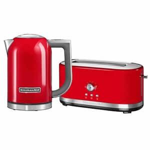 KitchenAid 1.7 Kettle and 4 Slice Long Slot Manual Empire Red Toaster Set