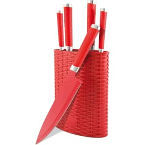 Rockingham Forge 6 Piece Knife Block Set Red