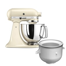 KitchenAid Artisan Mixer 4.8L Almond Cream Ice Cream Bundle (5KSM125BAC)