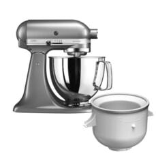 KitchenAid Artisan Mixer 4.8L Contour Silver Ice Cream Bundle (5KSM125BCU)
