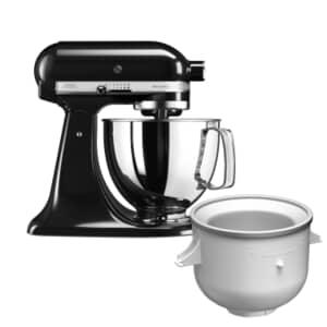 KitchenAid Artisan Mixer 4.8L Onyx Black Ice Cream Bundle (5KSM125BOB)