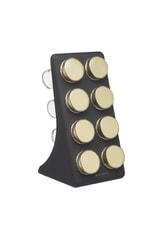 MasterClass Eight Jar Spice Rack with Matt Black and Brass Finish