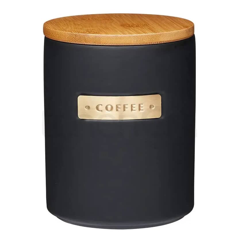 MasterClass Stoneware and Brass Effect Coffee Canister with Airtight Bamboo