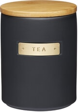 MasterClass Stoneware and Brass Effect Tea Caddy with Airtight Bamboo Lid