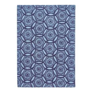 Murmur Japanese Floral Large Hard Back Notebook Blue