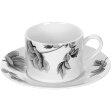 Royal Worcester Peony Black - Teacup and Saucer
