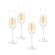 Sara Miller Chelsea Collection - Gold Leaf Champagne Flute Set Of 4