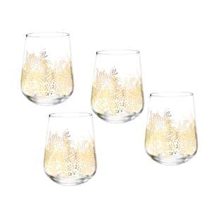 Sara Miller Chelsea Collection - Gold Leaf Stemless Wine Glass Aet Of 4