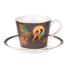 Sara Miller Chelsea Collection - Teacup And Saucer Dark Grey