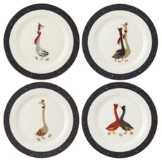 Sara Miller Geese Christmas Collection - Cake Plates Set Of 4