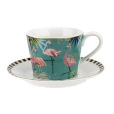 Sara Miller Tahiti  - Flamingo Teacup And Saucer