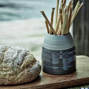 Murmur Dipped Stoneware Small Vase Charcoal