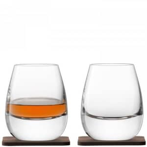 LSA Glassware - Whisky Isla Tumblers Set Of 2 With Walnut Coasters