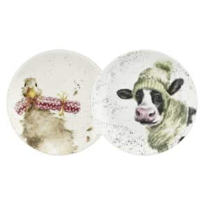 Wrendale Coupe Plates - Duck And Cow