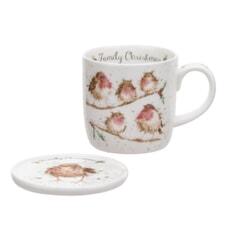 Wrendale Christmas Family Bird Mug And Coaster Set