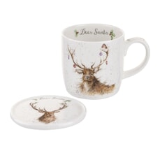 Wrendale Deer Santa Mug And Coaster Set