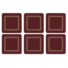 Portmeirion Pimpernel - Classic Burgundy Coasters Set Of 6