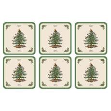 Spode Christmas Tree Coasters Set Of 6