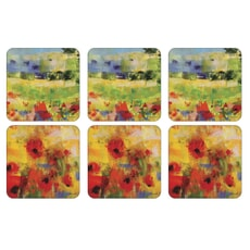 Portmeirion Pimpernel - Impressionist Flowers Yellow Coasters Set of 6
