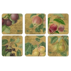 Portmeirion Pimpernel - Hooker Fruits Gold Coasters Set Of 6
