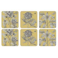 Portmeirion Pimpernel - Etchings And Roses Yellow Coasters Set Of 6