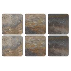 Portmeirion Pimpernel - Earth Slate Coasters Set Of 6