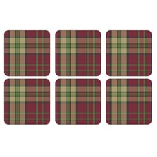 Spode Tartan Red Coasters Set Of 6