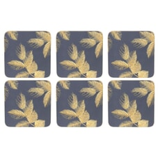 Sara Miller Etched Leaves Coasters Set of 6 Navy