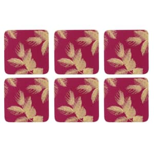 Sara Miller Etched Leaves Coasters Set of 6 Pink