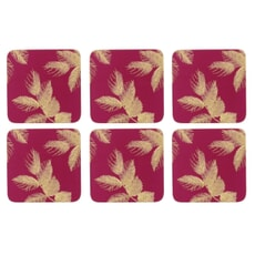 Sara Miller Etched Leaves Coasters Set of 6 Pink