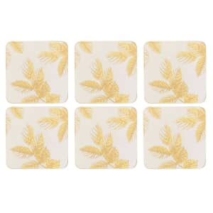 Sara Miller Etched Leaves Coasters Set of 6 Light Grey