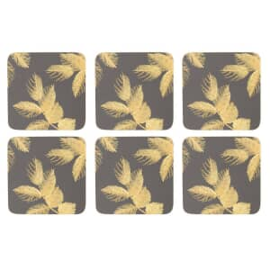 Sara Miller Etched Leaves Coasters Set of 6 Dark Grey