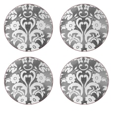 Portmeirion Pimpernel - Damask Silver Round Coasters Set Of 4