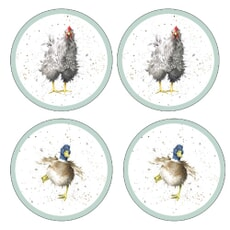 Wrendale Farmyard Feathers Round Coasters Set Of 4