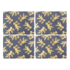 Sara Miller Etched Leaves Placemats Set of 4 Navy