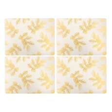 Sara Miller Etched Leaves Placemats Set of 4 Light Grey