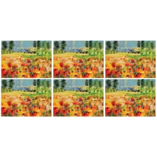 Portmeirion Pimpernel - Impressionist Flowers Yellow Placemats Set of 6