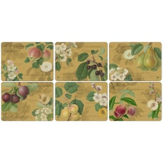 Portmeirion Pimpernel - Hooker Fruits Gold Placemats Set Of 6