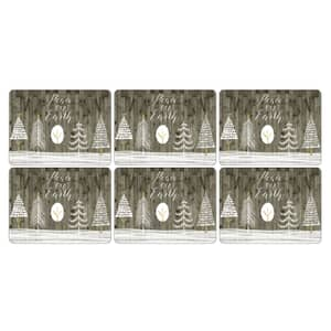 Portmeirion Pimpernel - Wooden White Christmas Placemats Set Of 6