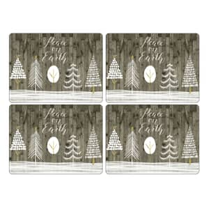 Portmeirion Pimpernel - Wooden White Christmas Large Placemats Set Of 4