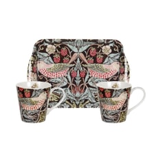 Spode Strawberry Thief - Mug And Tray Set Brown