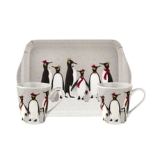 Sara Miller Penguin Christmas Collection - Mug And Tray Set