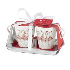 Wrendale Flamingle Bells Mug And Tray Set