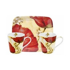 Portmeirion Pimpernel - Poppy De Villeneuve Mug And Tray Set