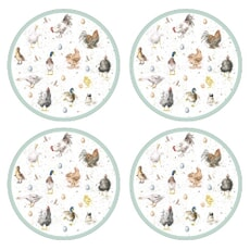 Wrendale Farmyard Feathers Round Placemats Set Of 4